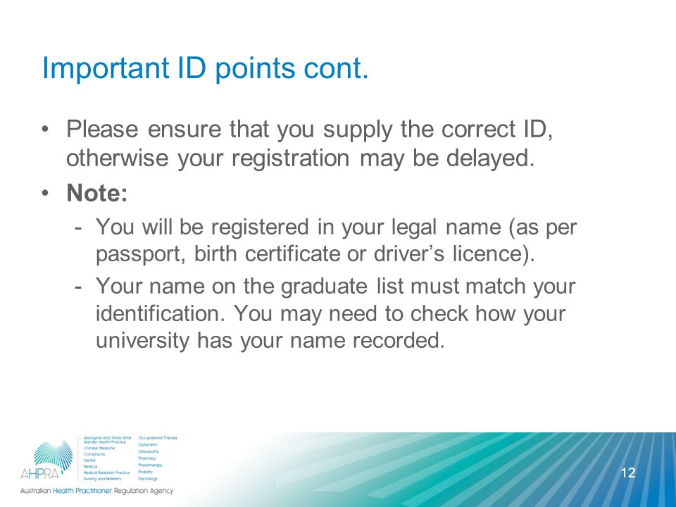 Important ID points cont.