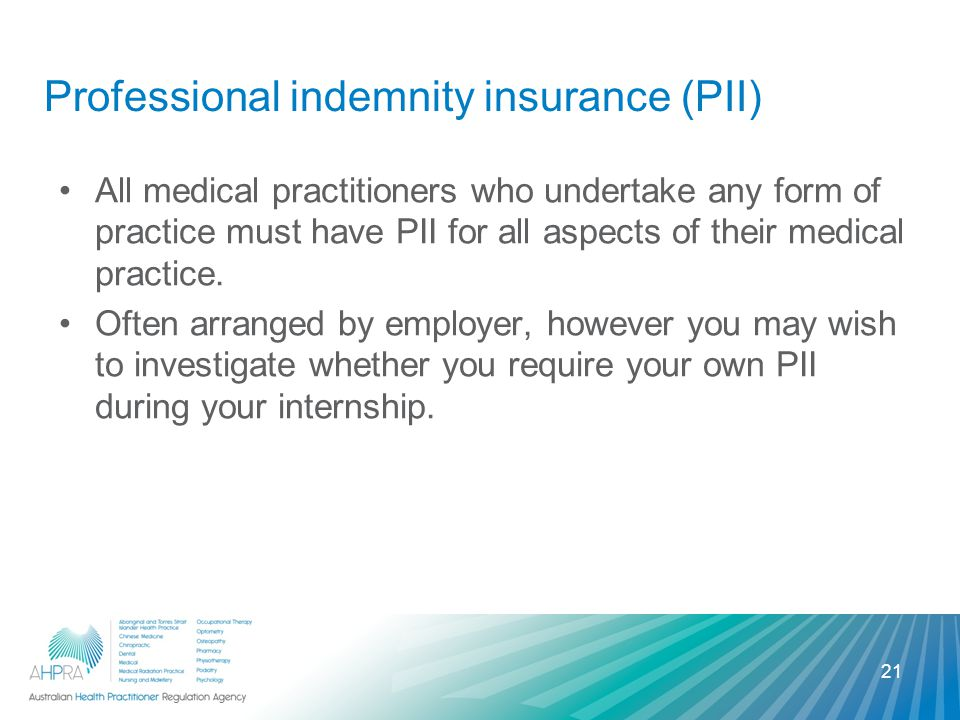Professional indemnity insurance (PII) All medical practitioners who undertake any form of practice must have PII for all aspects of their medical practice.