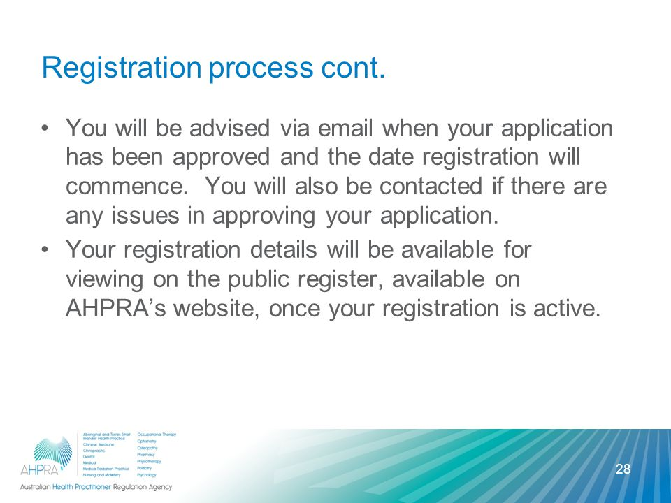Registration process cont.
