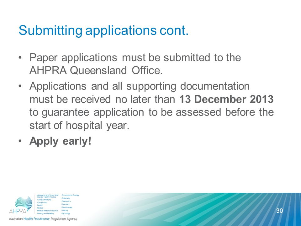 Submitting applications cont. Paper applications must be submitted to the AHPRA Queensland Office.