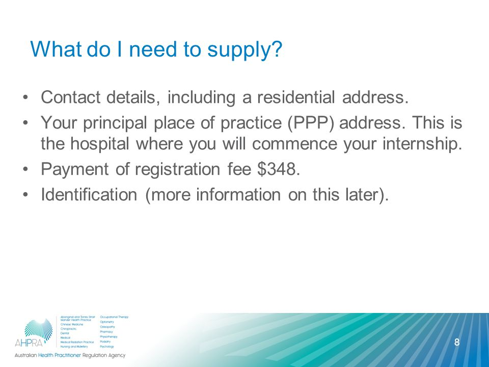 What do I need to supply. Contact details, including a residential address.