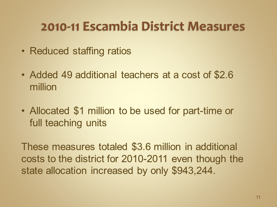 Reduced staffing ratios Added 49 additional teachers at a cost of $2.6 million Allocated $1 million to be used for part-time or full teaching units These measures totaled $3.6 million in additional costs to the district for 2010-2011 even though the state allocation increased by only $943,244.