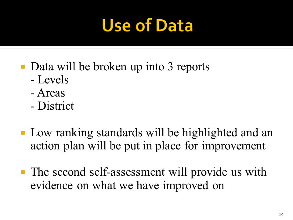  Data will be broken up into 3 reports - Levels - Areas - District  Low ranking standards will be highlighted and an action plan will be put in place for improvement  The second self-assessment will provide us with evidence on what we have improved on 10