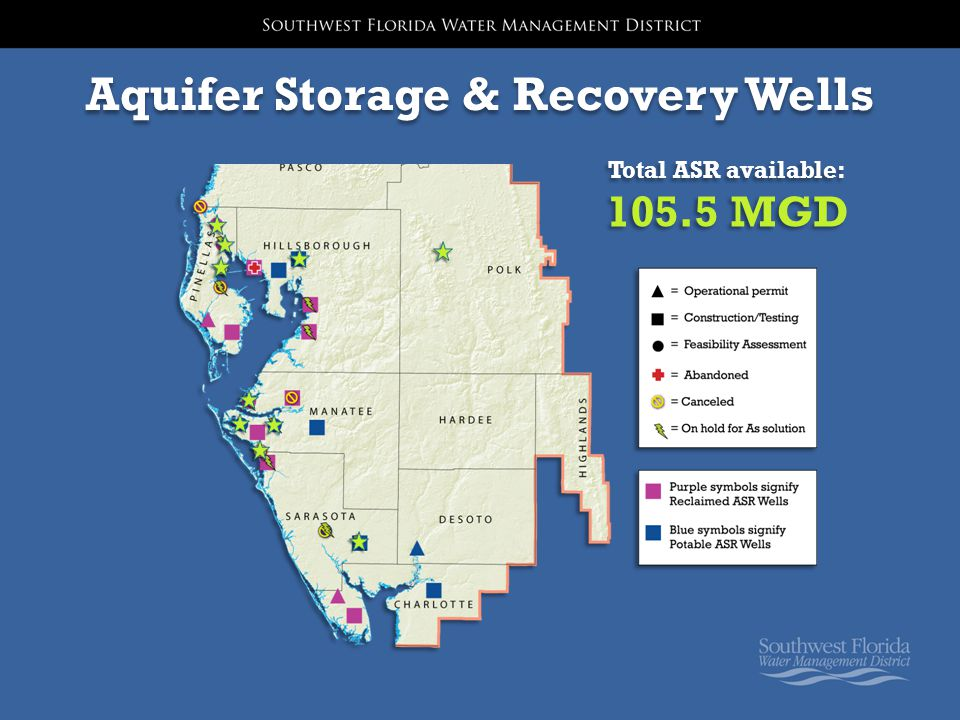 Aquifer Storage & Recovery Wells Total ASR available: 105.5 MGD Total ASR available: 105.5 MGD