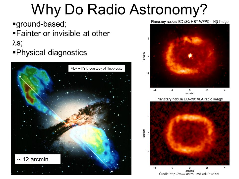 Why Do Radio Astronomy?  ground-based;  Fainter or invisible at other s;  Physical diagnostics ~ 12 arcmin VLA + HST; courtesy of Hubblesite Credit
