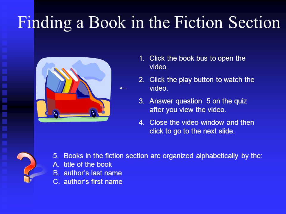 Finding a Book in the Fiction Section 1.Click the book bus to open the video.