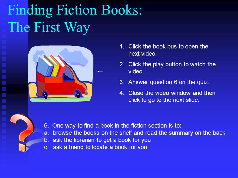 Finding Fiction Books: The First Way 1.Click the book bus to open the next video.