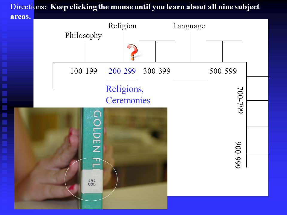 ReligionLanguage 100-199 200-299 300-399 500-599 700-799 900-999 Philosophy Religions, Ceremonies Directions: Keep clicking the mouse until you learn about all nine subject areas.
