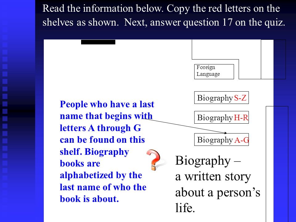 Biography S-Z Biography H-R Biography Foreign Language Biography – a written story about a person's life.