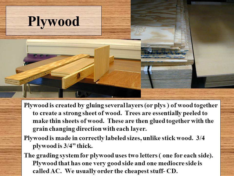 Plywood Plywood is created by gluing several layers (or plys ) of wood together to create a strong sheet of wood. Trees are essentially peeled to make