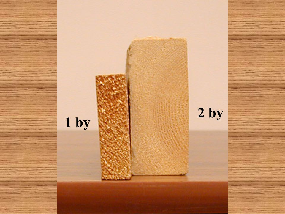 1 by Lumber that is nominally called 1 by is actually 3/4 of an inch thick.