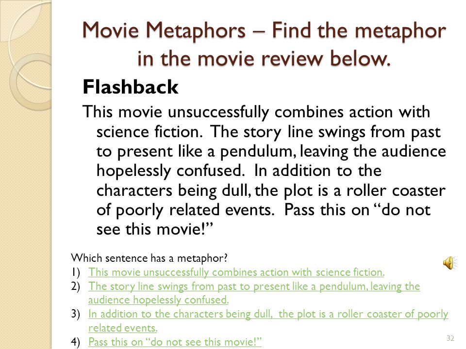 Movie Metaphors – Find the metaphor in the movie review below.