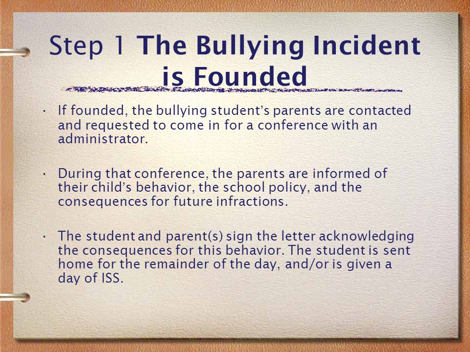 Step.5 –.5 Step Conference with student, warning and parent contact (depends on severity of incident)