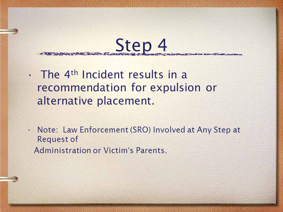 Step 3 Step 3 A third incident results in 5 to 10 days of OSS and continued participation in the anti-bully program.