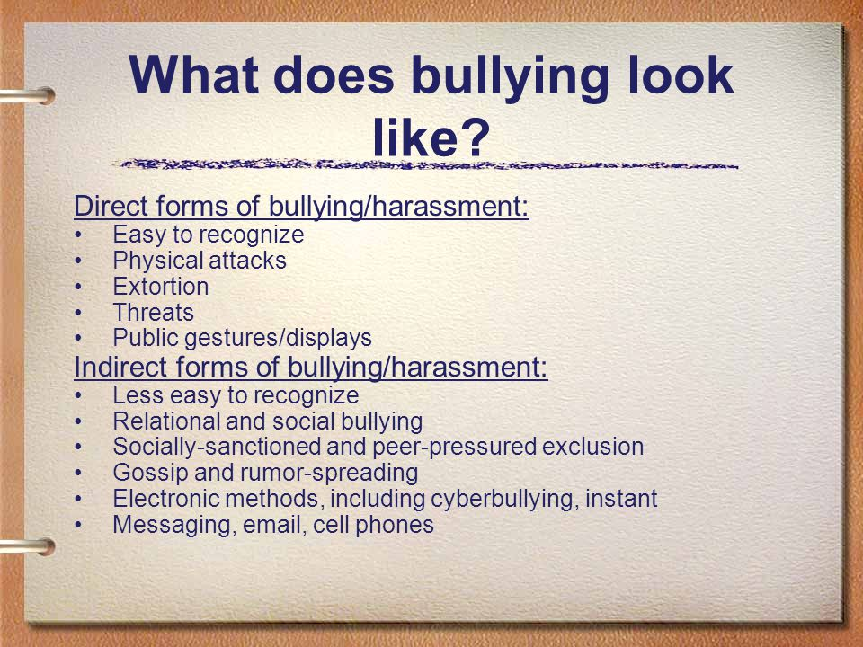 Bullying… is aggressive behavior that intends to cause harm or distress. Bullying can be physical, verbal, or emotional. usually is repeated over time