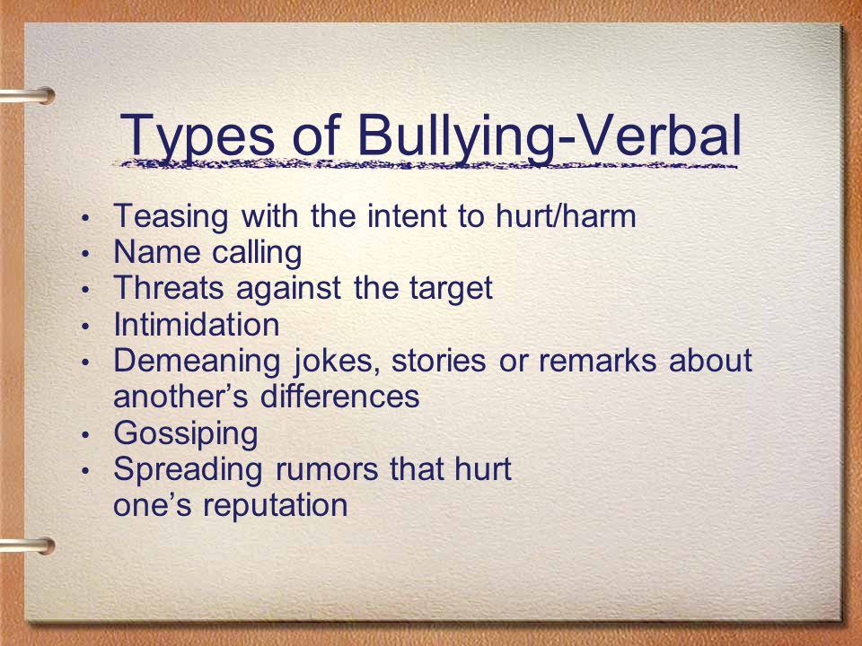 Types of Bullying- Physical Hitting, kicking, or pushing Taking property Damaging property Forced or unwelcome contact Perceived intent to harm