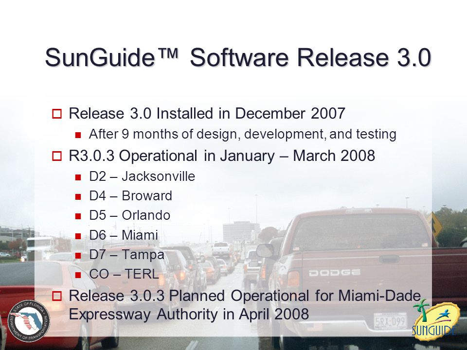SunGuide™ Software Release 3.1  Adds 176 Functional Requirements  I-95 Express Lanes Pricing subsystem  Variable time of day  Manual incident override Toll viewer Enhancements to dynamic message sign and event management subsystems