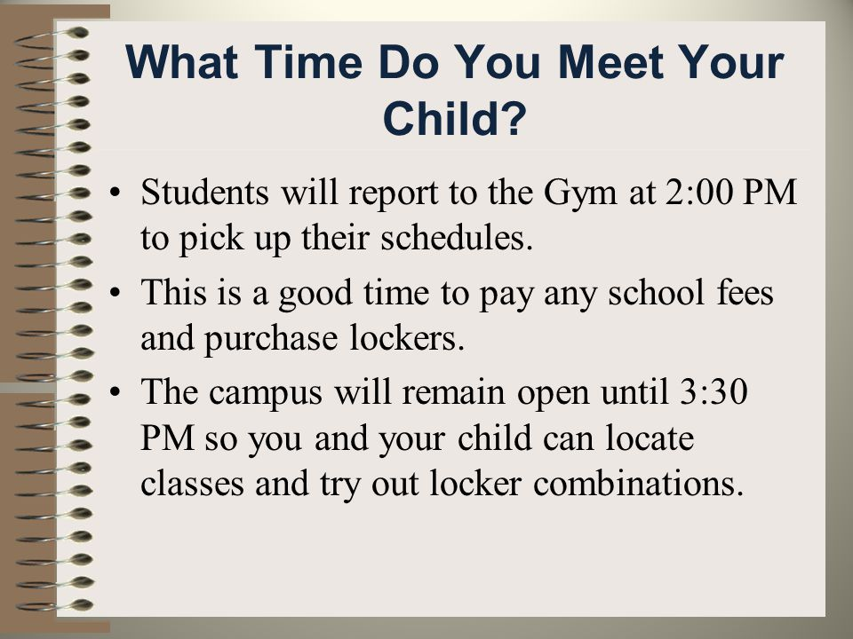 What Time Do You Meet Your Child.
