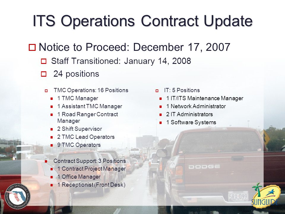 ITS Operations Contract Update  Notice to Proceed: December 17, 2007  Staff Transitioned: January 14, 2008  24 positions  TMC Operations: 16 Positions 1 TMC Manager 1 Assistant TMC Manager 1 Road Ranger Contract Manager 2 Shift Supervisor 2 TMC Lead Operators 9 TMC Operators Contract Support: 3 Positions 1 Contract Project Manager 1 Office Manager 1 Receptionist (Front Desk)  IT: 5 Positions 1 IT/ITS Maintenance Manager 1 Network Administrator 2 IT Administrators 1 Software Systems