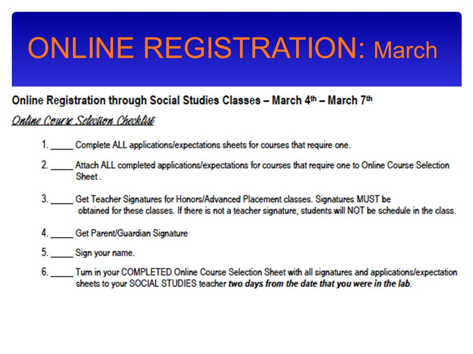 ONLINE REGISTRATION: March