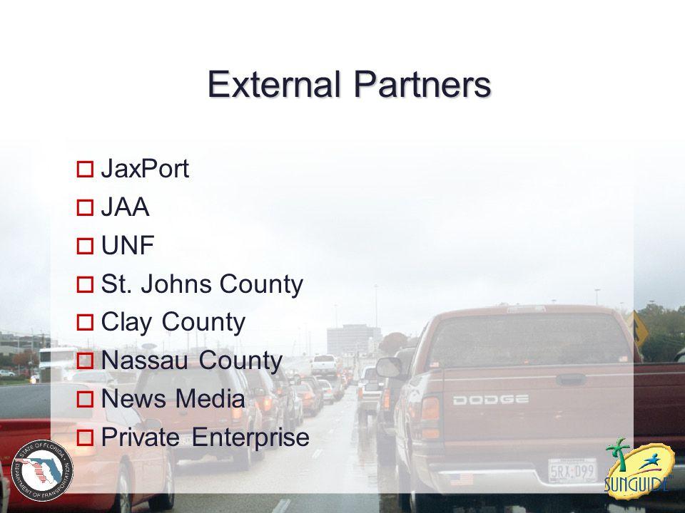 External Partners  JaxPort  JAA  UNF  St. Johns County  Clay County  Nassau County  News Media  Private Enterprise