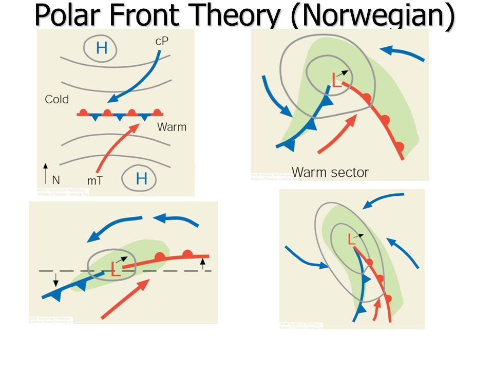 Mid-latitude Cyclone Life Cycle Begins with a stationary front with warm and cold winds in opposite directions (e.g.