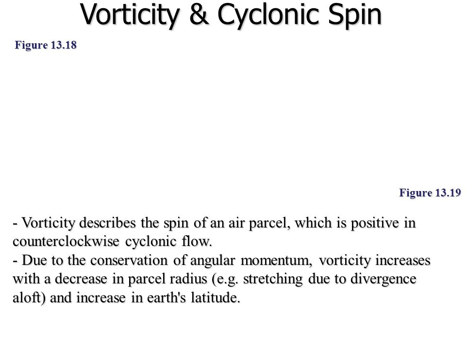 Vorticity & Cyclonic Spin - Vorticity describes the spin of an air parcel, which is positive in counterclockwise cyclonic flow. - Due to the conservat