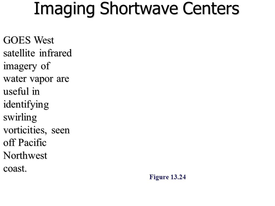 Imaging Shortwave Centers GOES West satellite infrared imagery of water vapor are useful in identifying swirling vorticities, seen off Pacific Northwe