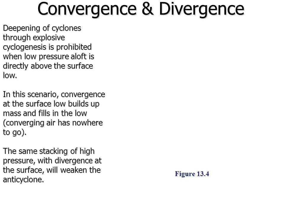 Vertical Storm Structure Figure 13.5 Divergence of air aloft occurs as contour interval widen (the inverse happens when height contours become more packed together) Low pressure systems deepen and intensify (cyclogenesis) when upper- level divergence is stronger than the surface convergence This which requires a vertical offset of the surface low and low pressure above it.