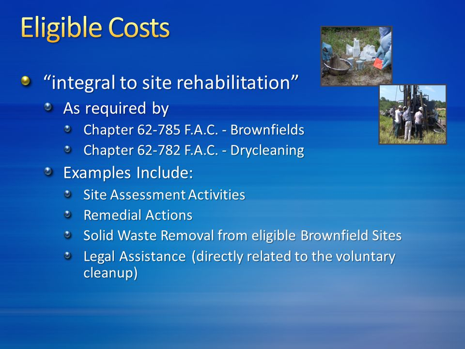 integral to site rehabilitation As required by Chapter 62-785 F.A.C.