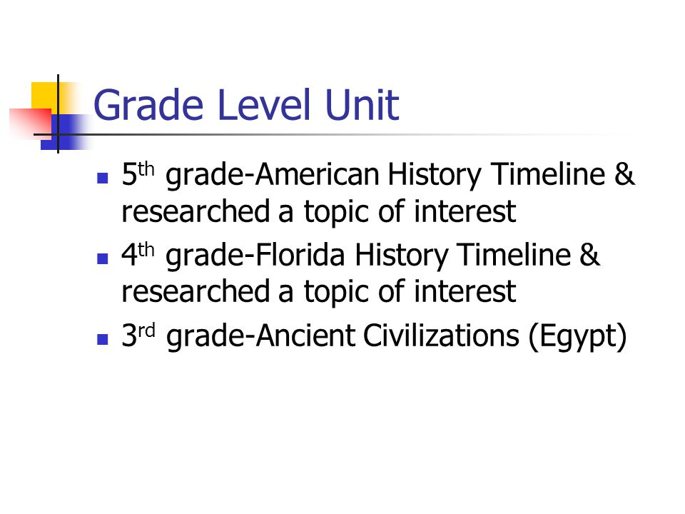 Grade Level Unit 5 th grade-American History Timeline & researched a topic of interest 4 th grade-Florida History Timeline & researched a topic of interest 3 rd grade-Ancient Civilizations (Egypt)