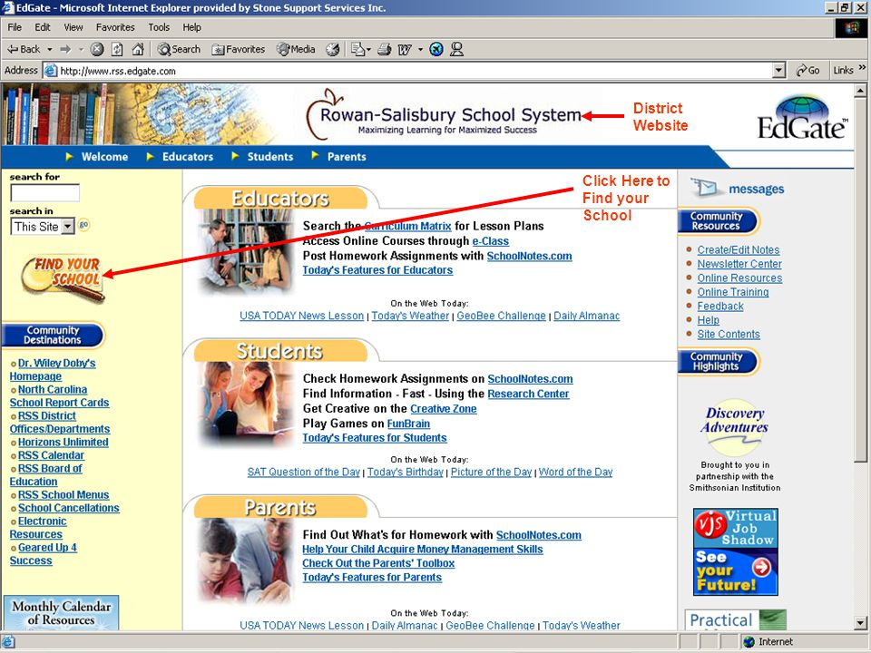 District Website Click Here to Find your School