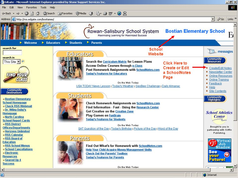 School Website Click Here to Create or Edit a SchoolNotes Page