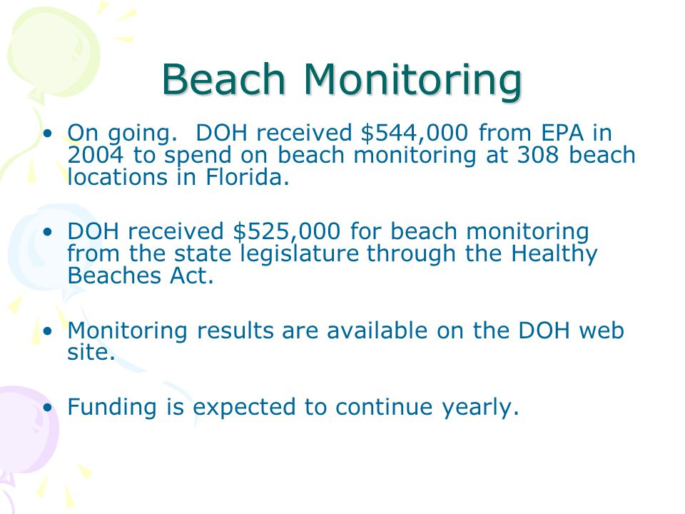 Beach Monitoring On going.