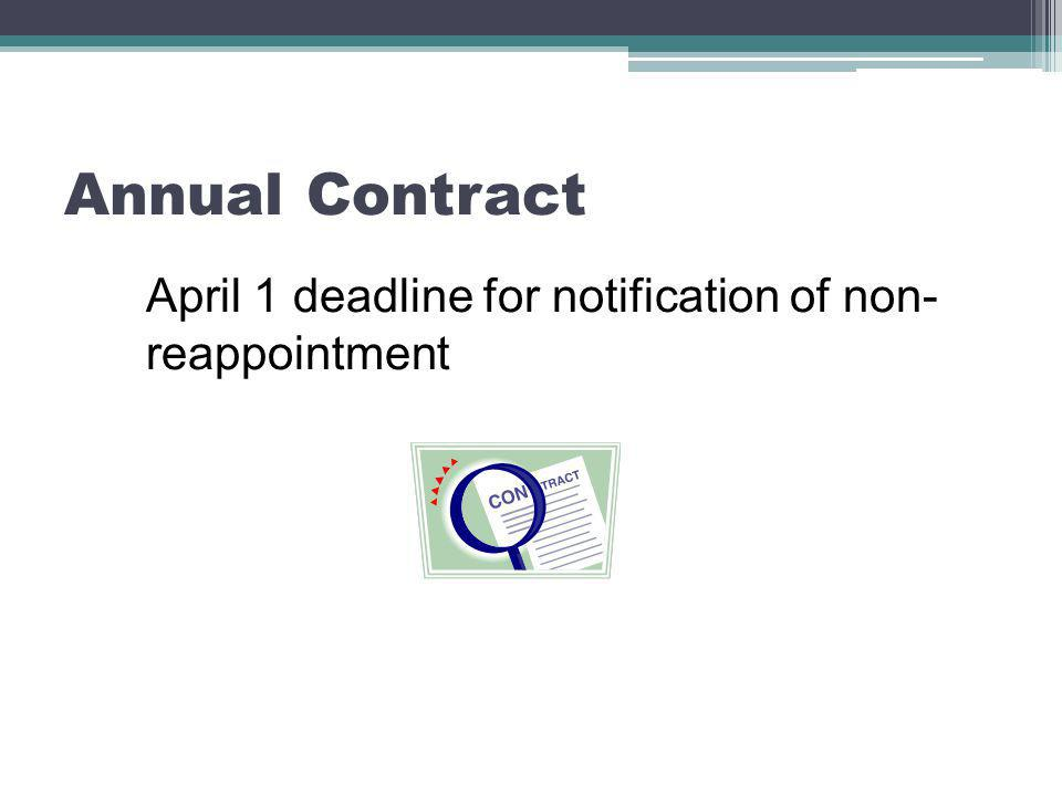 Annual Contract April 1 deadline for notification of non- reappointment