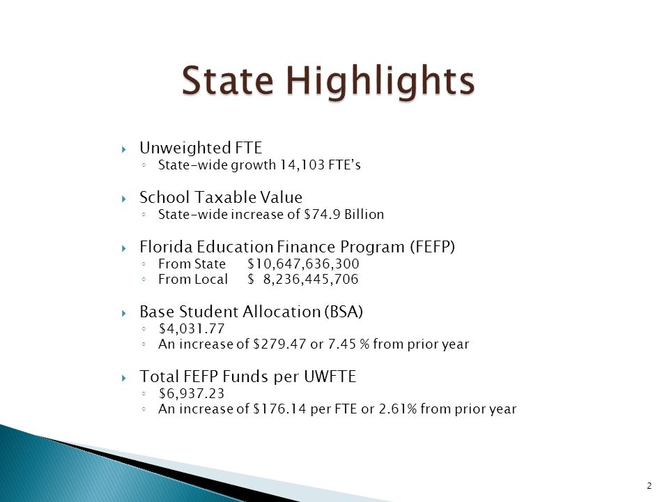 2  Unweighted FTE ◦ State-wide growth 14,103 FTE's  School Taxable Value ◦ State-wide increase of $74.9 Billion  Florida Education Finance Program (FEFP) ◦ From State $10,647,636,300 ◦ From Local $ 8,236,445,706  Base Student Allocation (BSA) ◦ $4,031.77 ◦ An increase of $279.47 or 7.45 % from prior year  Total FEFP Funds per UWFTE ◦ $6,937.23 ◦ An increase of $176.14 per FTE or 2.61% from prior year