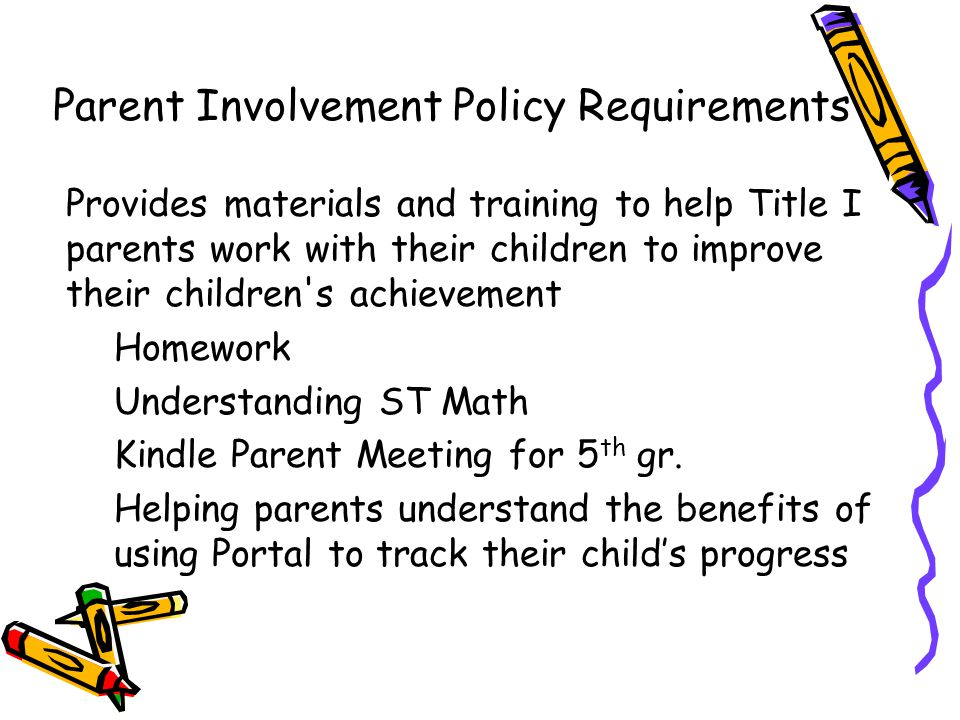 Provides materials and training to help Title I parents work with their children to improve their children s achievement Homework Understanding ST Math Kindle Parent Meeting for 5 th gr.