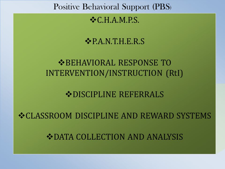 Year One Develop Expectations –P.A.N.T.H.E.R.S Develop School Wide Reward System –Word of the Month (PANTHERS) – Panther Paws – Reward Day Activity Time