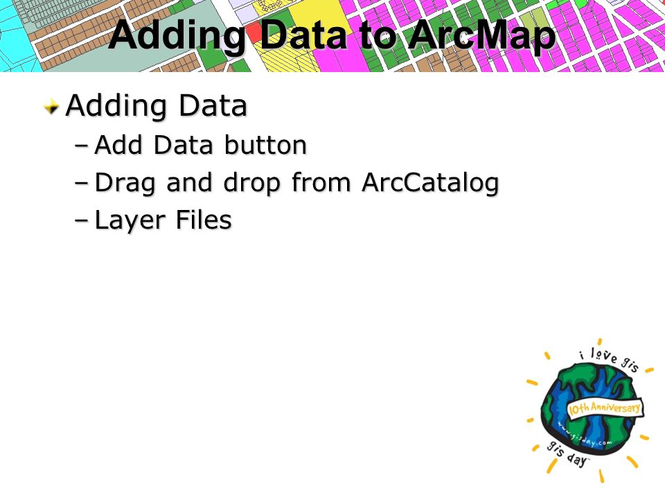 Adding Data to ArcMap Adding Data –Add Data button –Drag and drop from ArcCatalog –Layer Files