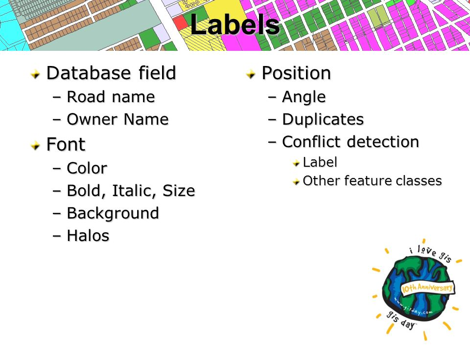 Labels Database field –Road name –Owner Name Font –Color –Bold, Italic, Size –Background –Halos Position –Angle –Duplicates –Conflict detection Label Other feature classes