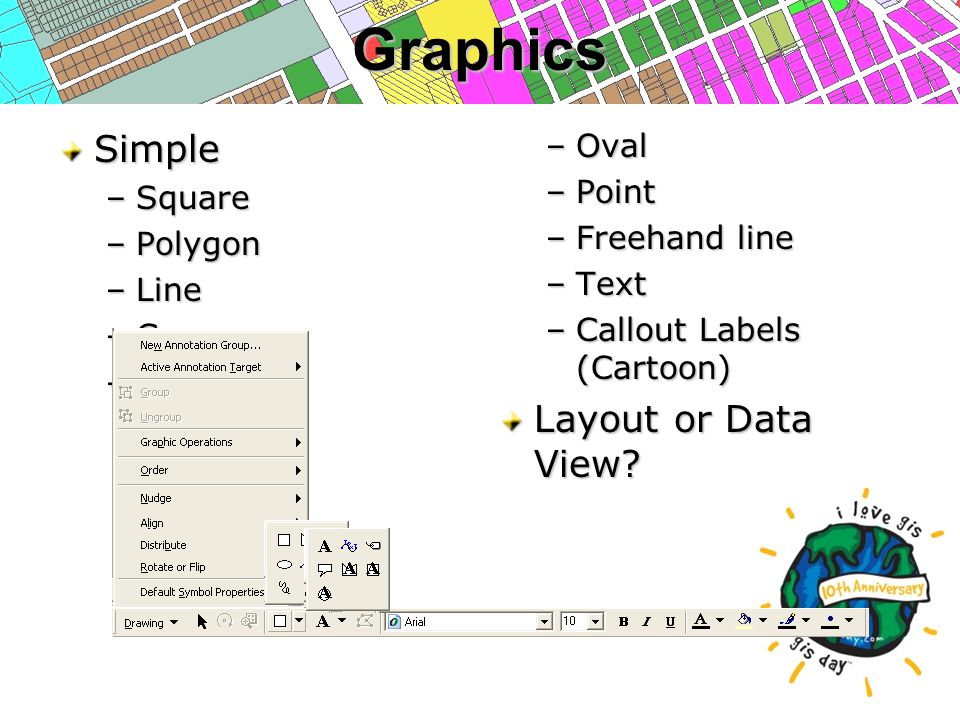 GraphicsSimple –Square –Polygon –Line –Curve –Circle –Oval –Point –Freehand line –Text –Callout Labels (Cartoon) Layout or Data View?