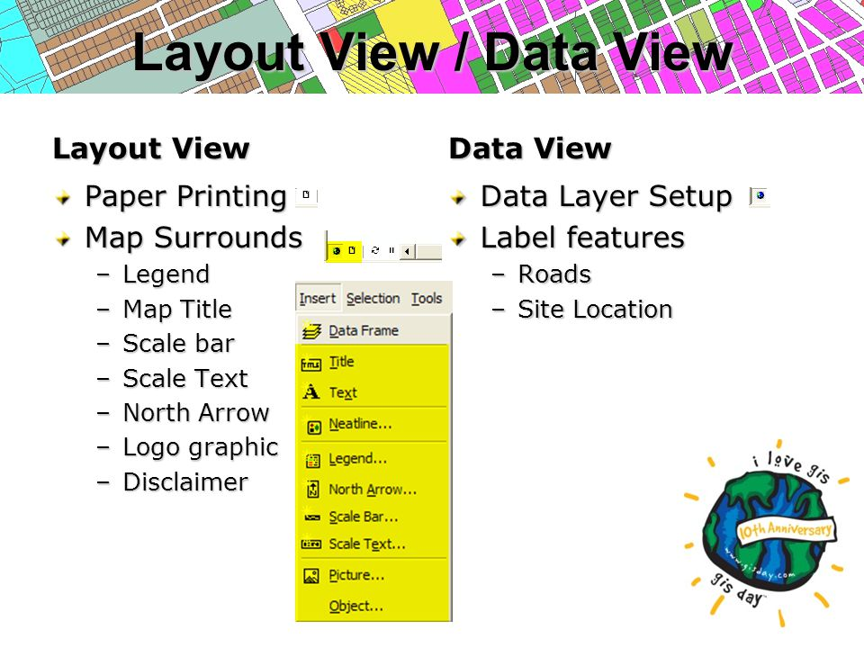 Layout View / Data View Layout View Paper Printing Map Surrounds –Legend –Map Title –Scale bar –Scale Text –North Arrow –Logo graphic –Disclaimer Data View Data Layer Setup Label features –Roads –Site Location