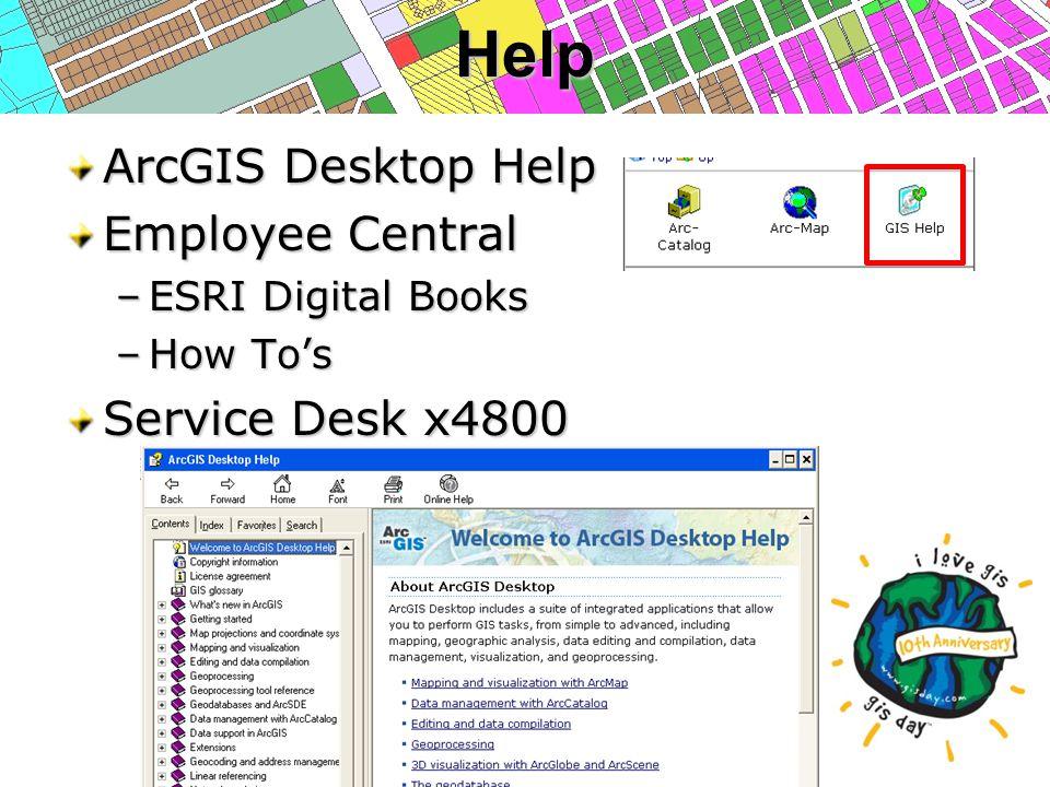 Help ArcGIS Desktop Help Employee Central –ESRI Digital Books –How To's Service Desk x4800