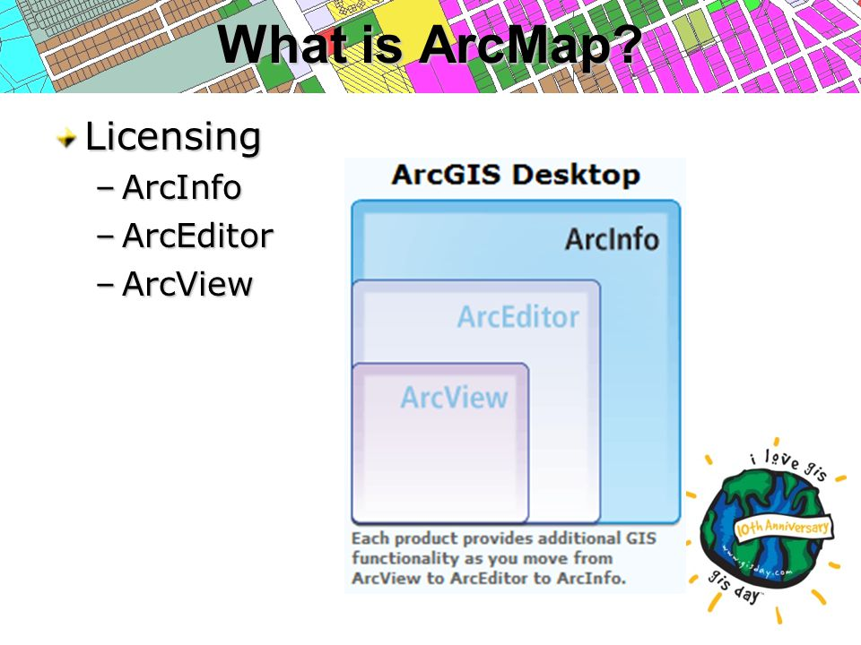 What is ArcMap Licensing –ArcInfo –ArcEditor –ArcView