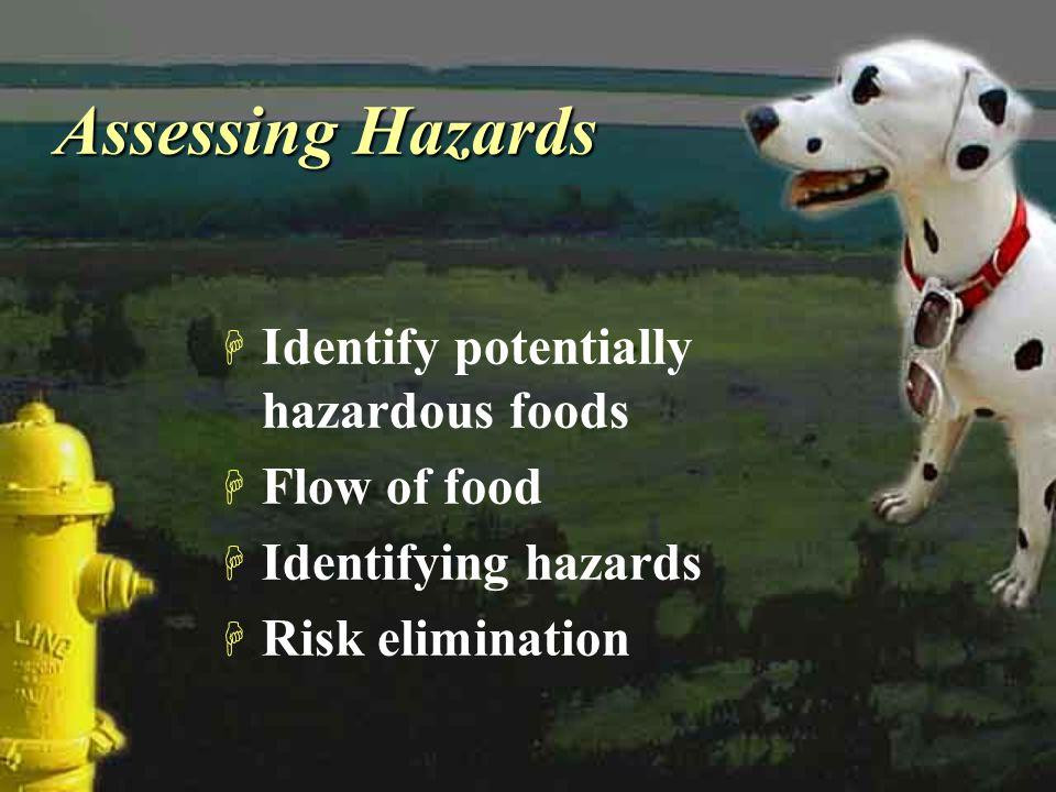 Assessing Hazards H Identify potentially hazardous foods H Flow of food H Identifying hazards H Risk elimination