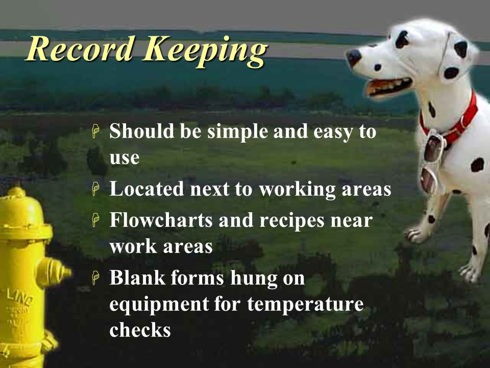 Record Keeping H Should be simple and easy to use H Located next to working areas H Flowcharts and recipes near work areas H Blank forms hung on equip