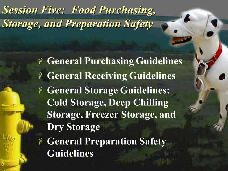 Session Five: Food Purchasing, Storage, and Preparation Safety H General Purchasing Guidelines H General Receiving Guidelines H General Storage Guidel