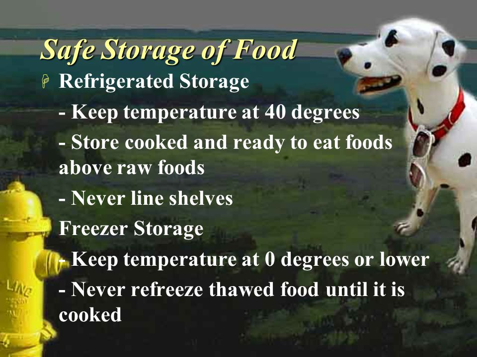 Safe Storage of Food H Refrigerated Storage - Keep temperature at 40 degrees - Store cooked and ready to eat foods above raw foods - Never line shelve