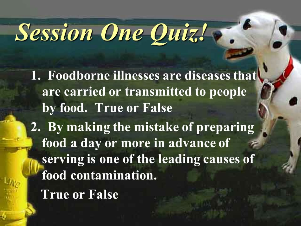 Session One Quiz! 1. Foodborne illnesses are diseases that are carried or transmitted to people by food. True or False 2. By making the mistake of pre