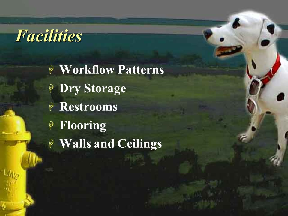 FacilitiesFacilities H Workflow Patterns H Dry Storage H Restrooms H Flooring H Walls and Ceilings H Workflow Patterns H Dry Storage H Restrooms H Flo